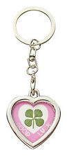 Lucky Real Four Leaf Clover Heart Keyring with Certificate