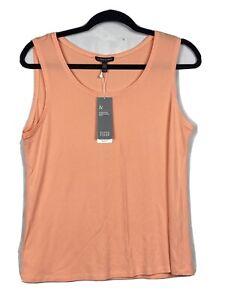 NWT-Eileen-Fisher-Women-039-s-Peach-Thin-Tank-Top-100-SILK-Blouse-sz-Medium-H