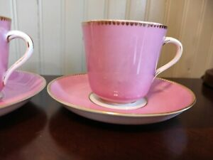 2 Solid Pink & Gold CROWN Staffordshire  tea cup and saucer PINK