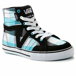57b86480ba Vans Corrie Hi High Top Girl Shoes Size 11 Sneakers Plaid Black Blue ...
