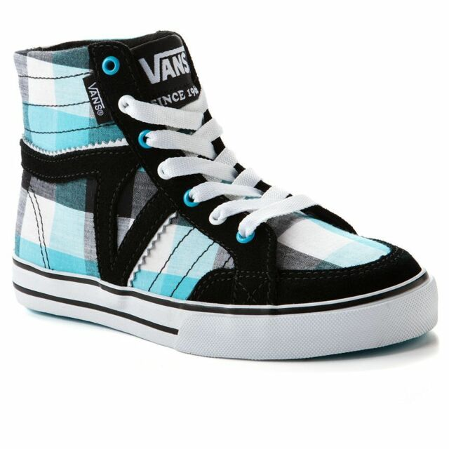 2e881e8a96 Vans Corrie Hi High Top Girl Shoes Size 11 Sneakers Plaid Black Blue Skate  New