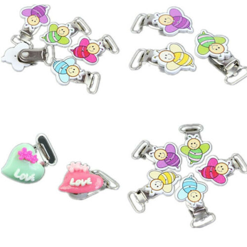 10pcs Infant Suspender Soother Pacifier Toy Bib Holder Nipples Dummy Clips Funny