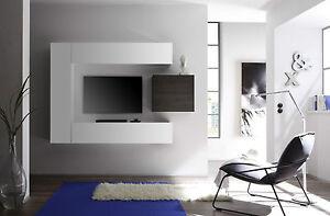 Composizione porta tv parete attrezzata sospesa legno laccato ...