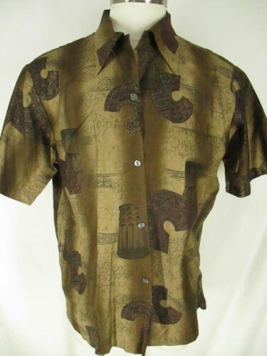 Royal Mens Shop Vtg 70s Brown Tiki Disco Hawaiian