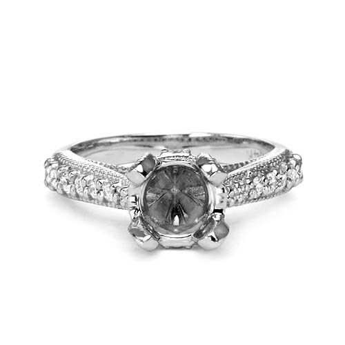 0.50 14k WHITE gold DIAMOND ENGAGEMENT RING MOUNTING SETTING