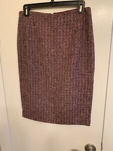 Carolina-Herrera-Womens-Knee-Length-Pencil-Skirt-Wool-Burgundy-Size-6