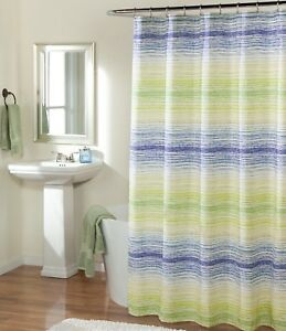 Image Is Loading Studio D Azura Striped Faux Linen Shower Curtain