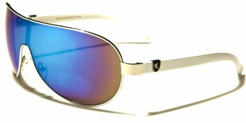 NEW KHAN MEN WOMENS LADIES LARGE DESIGNER MIRROR VINTAGE WRAP UV400 SUNGLASSES