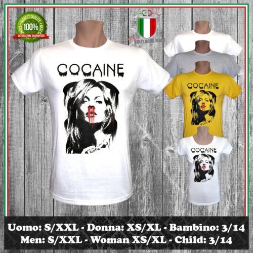 T-SHIRT COCAINE ISPIRATA KATE MOSS PARTY FESTA DJ COCAINA TV UOMO DONNA BAMBINO