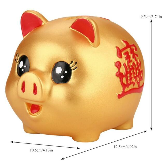 Cute Pig Piggy Bank Collectible Chinese Zodiac Pig Figurine Gift Black