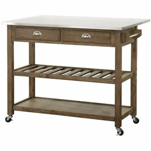 Boraam 12508 Wood Stainless Steel Drop Leaf Kitchen Cart One Size