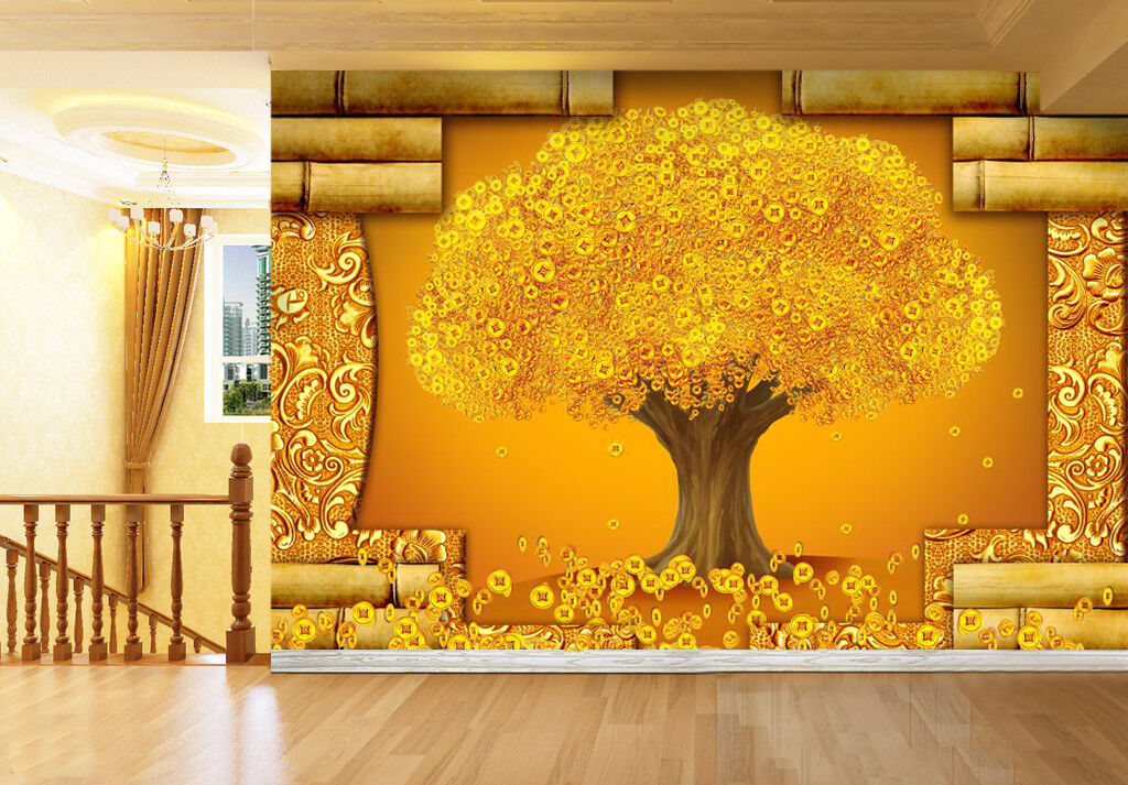 3D Tree large shiny Gelb Wall Paper Print Decal Wall Deco Indoor wall Mural