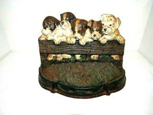 Vintage Cast Iron King Charles Spaniel Doorstop Dog Puppies Door Stopper
