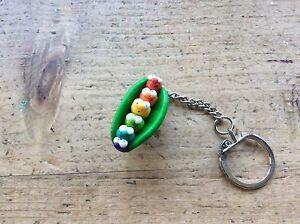 Gay-Pride-Keyring-Rainbow-Lesbian-LGBT-Handmade-Pea-Pod-Peas-Cute-Cool