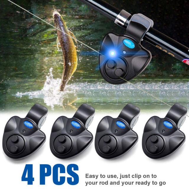 Fishing Bite Alarm Sound,4 Pcs Black Electronic LED Light