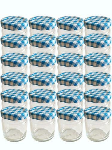 20 Mini rundgläser 37 ml pots de confiture BOCAUX CONSERVE bleu à carreaux