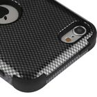 iPod Touch 5th / 6th Gen - Black Carbon Fiber Hybrid Shockproof Armor Skin Case