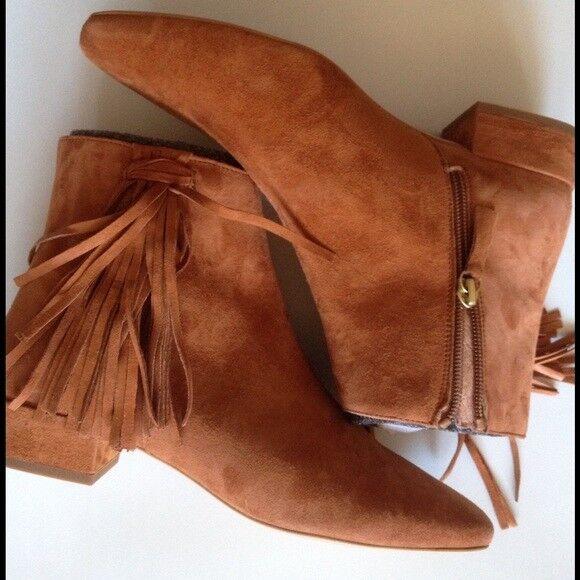 Free People Spring In Paris Tassel Stiefelies Stiefel Tan Suede schuhe  178 Größe 8
