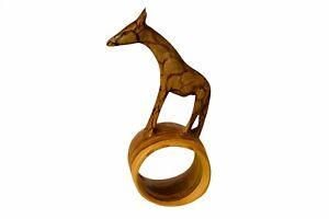 Napkin Ring Holder Africa Kenya Hand Carved Wood vtg Figurine Giraffe baby gift