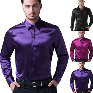 Hot silk satin mens long sleeve luxury italian style dress for Italian style dress shirts