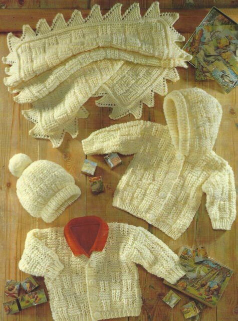 "Baby Girls Boys Aran Cardigans Blanket Hat 16-22"" Knitting Pattern  443"
