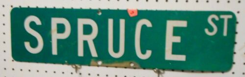 VINTAGE USED STREET SIGN SPRUCE ST GREEN W WHITE LETTERS  6 x 24 ALUMINUM