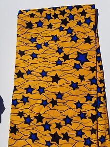 Details about Yellow-Blue Star African Fabric