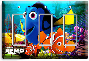 FINDING NEMO CLOWN FISH DORY SEA CORAL REEF TRIPLE LIGHT SWITCH WALL PLATE OCEAN