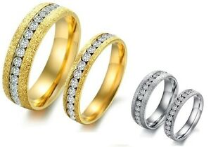 UK-Stock-Free-P-amp-P-Fashion-Lovers-Ring-Polish-Stainless-Steel-crystal-GJ362359