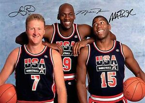 Michael Jordan Larry Bird Magic Johnson 3 Autograph Signed Signature A4 Poster