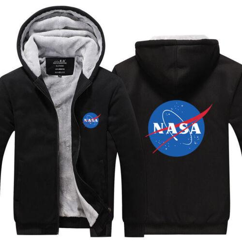 NASA Winter Unisex Jacket Sweatshirts Thicken Fleece Hoodie Men Zipper Coat @45