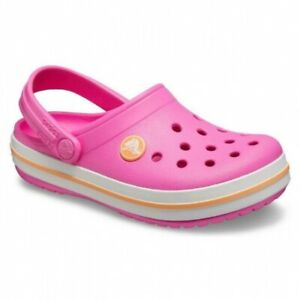 Crocs-204537-Crocband-Intasa-Bambine-Slip-On-Clogs-elettrica-rosa-Melone