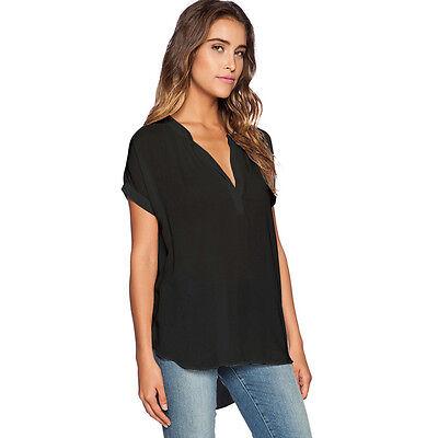 Womens Chiffon V Neck Tops Long Sleeve Shirt Casual Summer Blouse Loose T-shirt