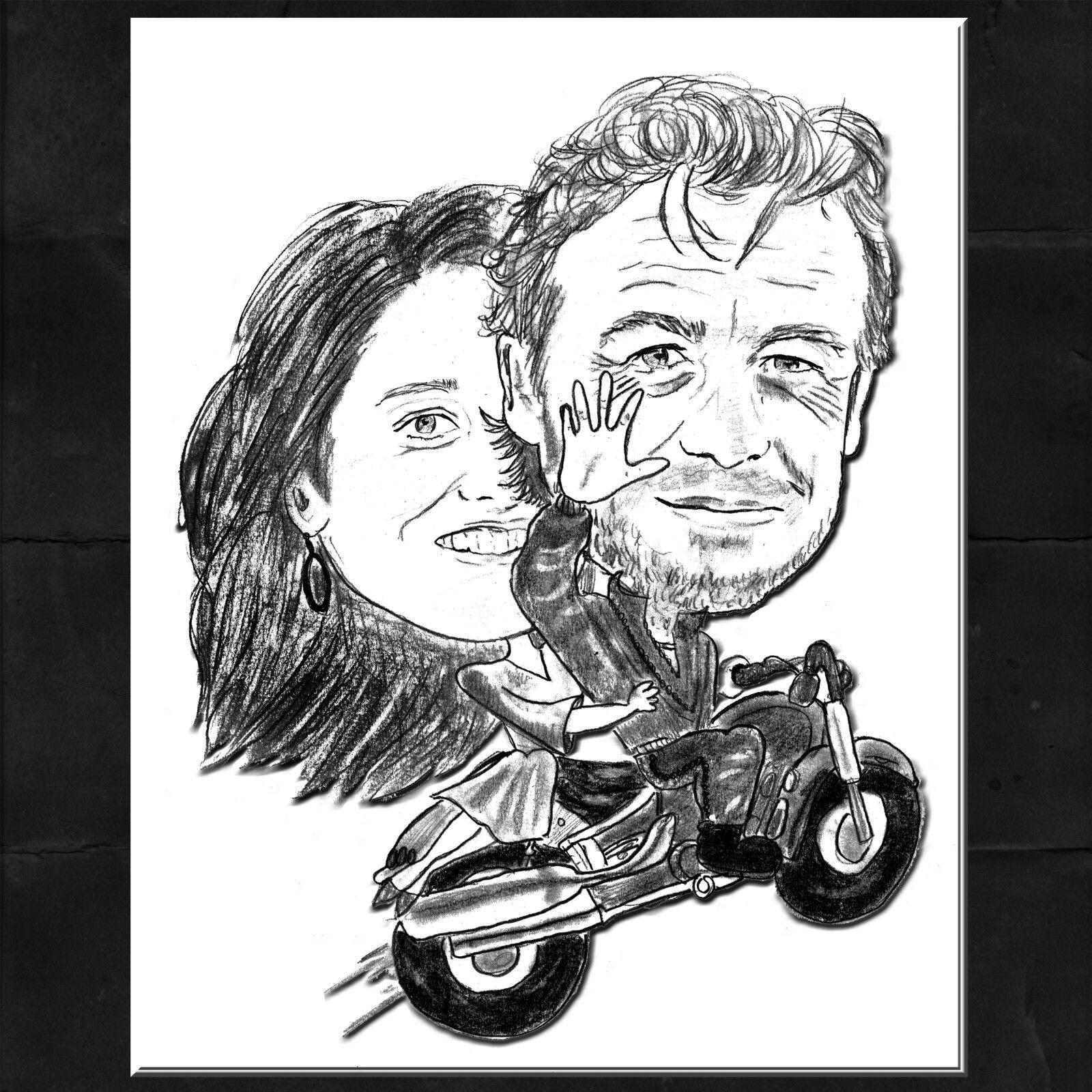 Caricature portrait de la photo-mariage moto paire Mentalist