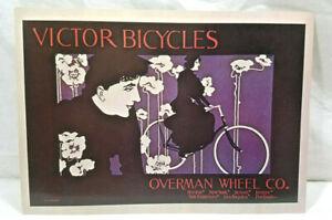 Vintage Victor Bicycles Overman Wheel Co Will Bradley Art Deco Poster Postcard Ebay