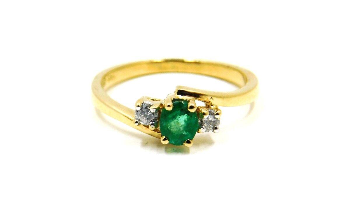 EMERALD .35 ct tw  DIAMOND .10 ct tw 14k YG 3 Stone Ring GAL APPRAISALGift Box