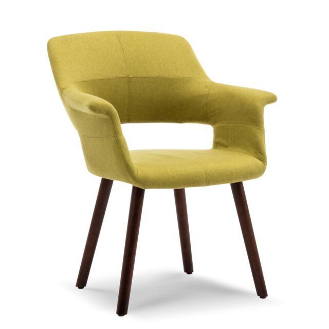 Mid-Century Modern Accent Chair Linen Living Room Pad Armrest Wooden Leg,  Green