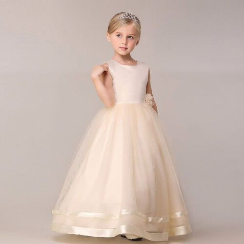 Girl Kid Flower Long Dress Princess Party Wedding Bridesmaid Gown for 4-12 Years
