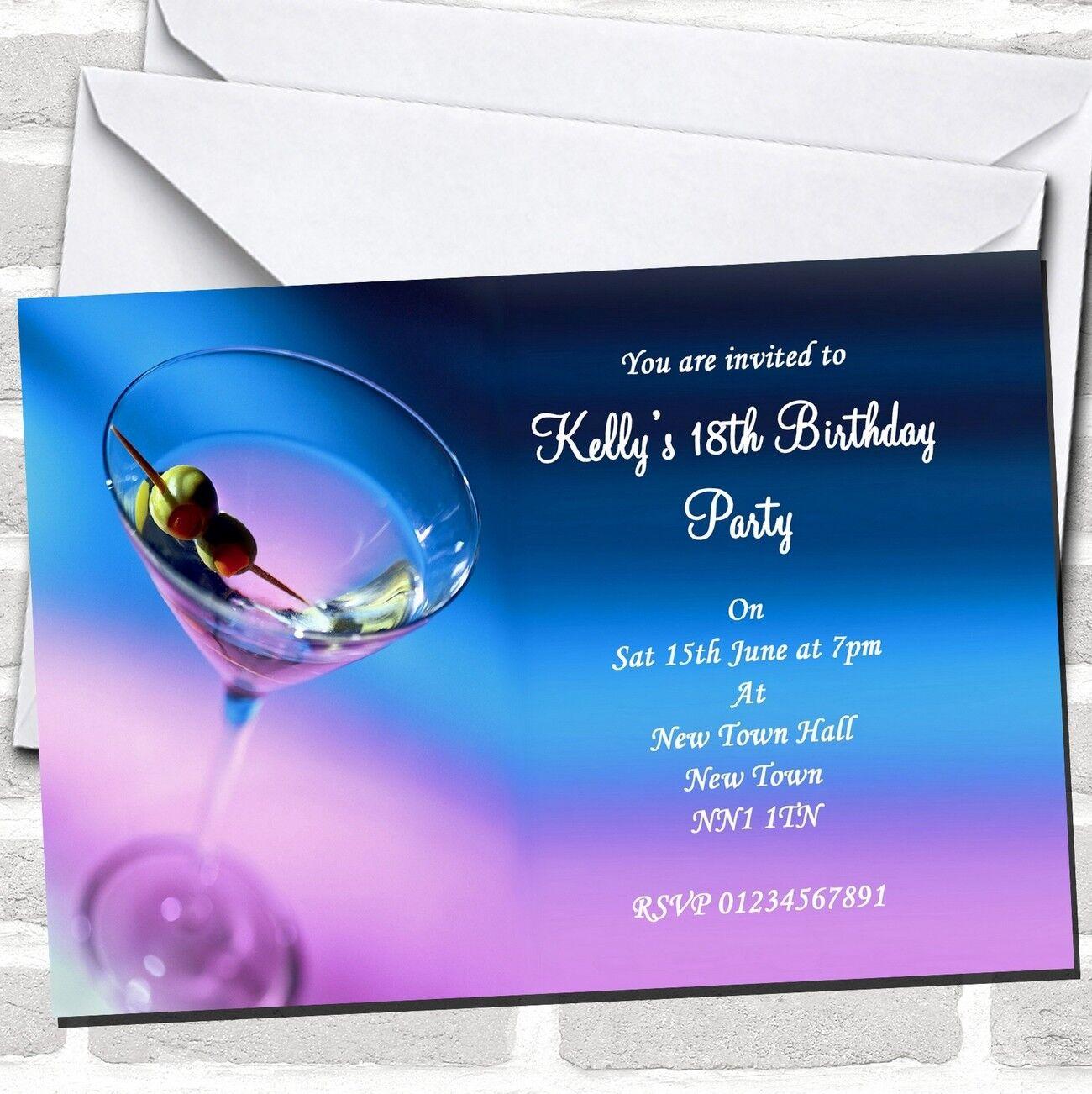 lila Blau Martini Cocktail Party Invitations
