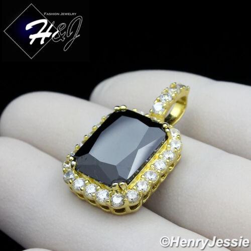 MEN 925 STERLING SILVER LAB DIAMOND ICED BLING BLACK GEMSTONE GOLD PENDANT*GP156