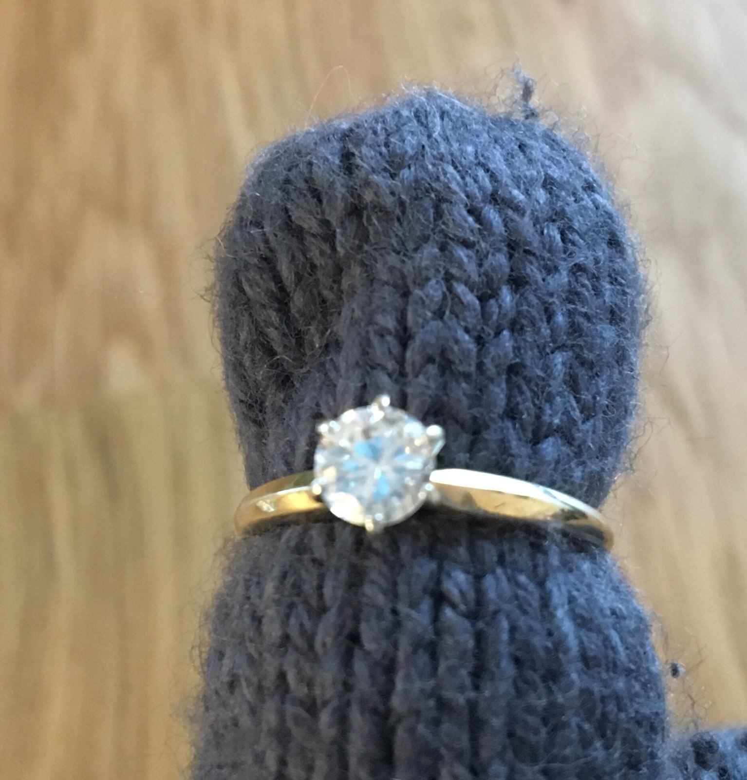 Vintage 14k Solid Yellow gold Half-Carat Diamond Solitaire Engagement Ring