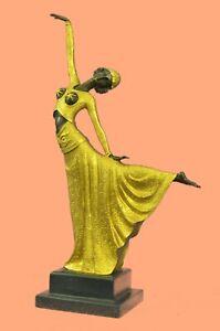 Chiparus Art Deco Dancer Large Bronze Sculpture Hand Made Statue Signed D.H