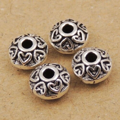 4 Pcs 925 Sterling Silver Spacer Heart Rondelle Vintage Celtic DIY Parts 050X4