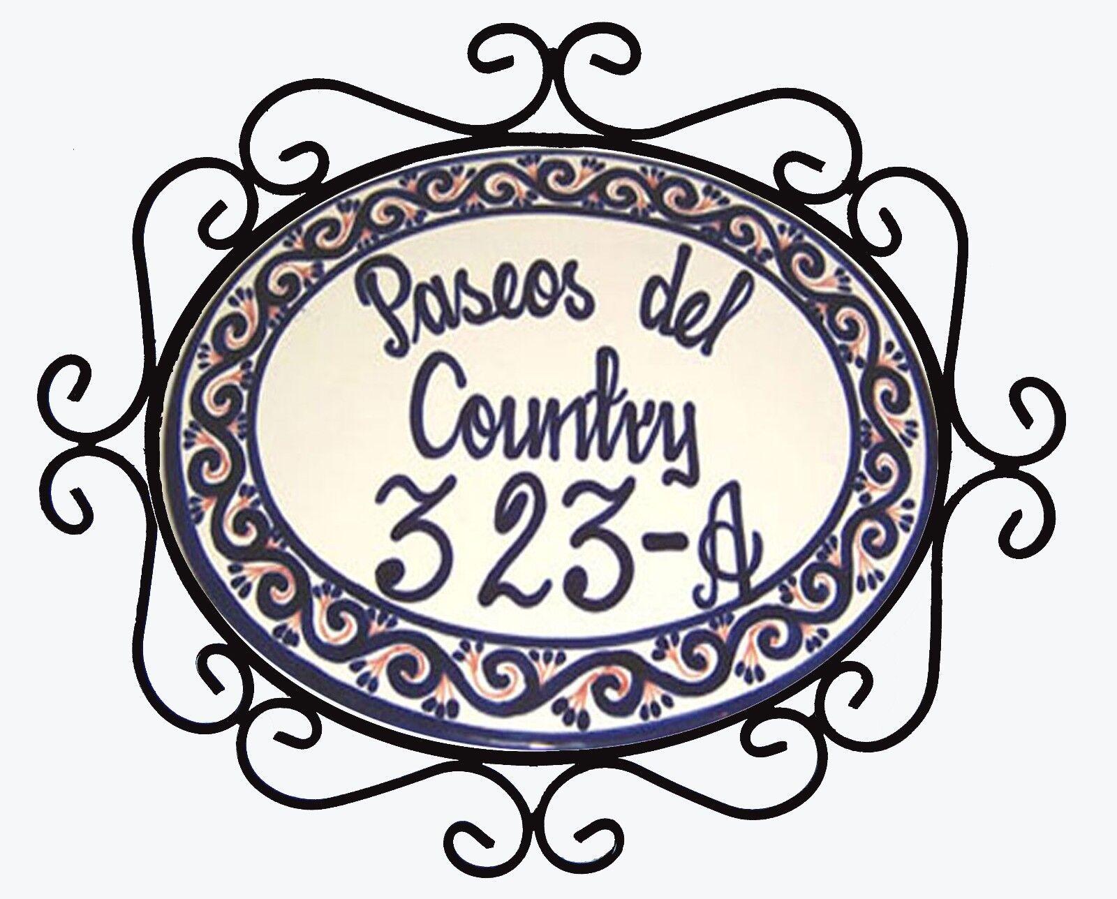 Mexican Ceramic Talavera Custom Wall House Address Plaque & Iron Frame    05