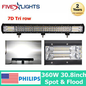 Amazing Details About 7D Lens Tri Row 360W 30Inch Flood Spot Led Work Light Bar Offroad Truck F Satr Evergreenethics Interior Chair Design Evergreenethicsorg