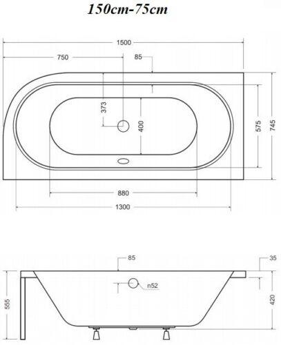 GRATIS Eckbadewanne Eckwanne Badewanne 170X75  RECHTS Verkleidung Styropor