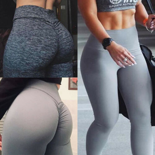 Damen Yoga Sport Fitness Leggins Tights Hose Jogginghose Faltenwurf Leggings de