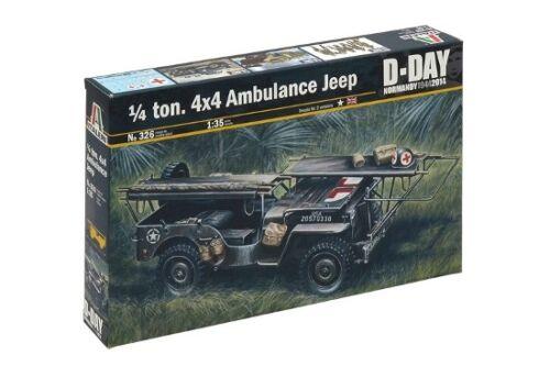 Italeri 326-1//35 WWII 1//4 Ton 4X4 Ambulance Jeep Neu