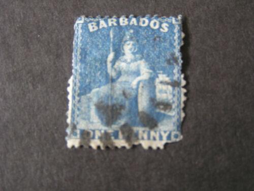 BARBADOS, SCOTT # 25, 1p. VALUE BLUE 1870 BRITANNIA ROUGH PERF. ISSUE USED