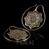 Brass Earrings La Flor Miao Style Spiral Hoop Flower Earrings Engraved Code 60